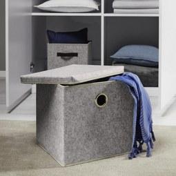Box Rikka mit Deckel - Grau, MODERN, Textil (33/29/30cm) - Mömax modern living