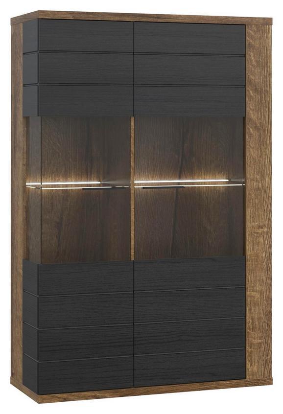 Vitrina Lacjum - črna/hrast, Konvencionalno, kovina/umetna masa (101,8/155,5/41,6cm) - Mömax modern living