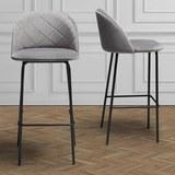 Barhocker Matilda - Schwarz/Grau, MODERN, Textil/Metall (48/103/53cm) - MÖMAX modern living