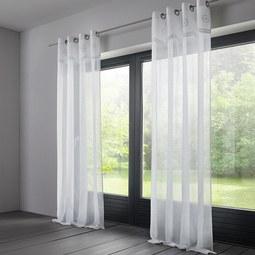 Store in Weiß ca. 140x245 cm 'Amalie' - Weiß, ROMANTIK / LANDHAUS, Textil (140/245cm) - Bessagi Home