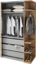 Schwebetürenschrank Weiß Hochglanz/eiche - Eichefarben/Silberfarben, KONVENTIONELL, Holzwerkstoff/Kunststoff (293/211/62cm) - PREMIUM LIVING