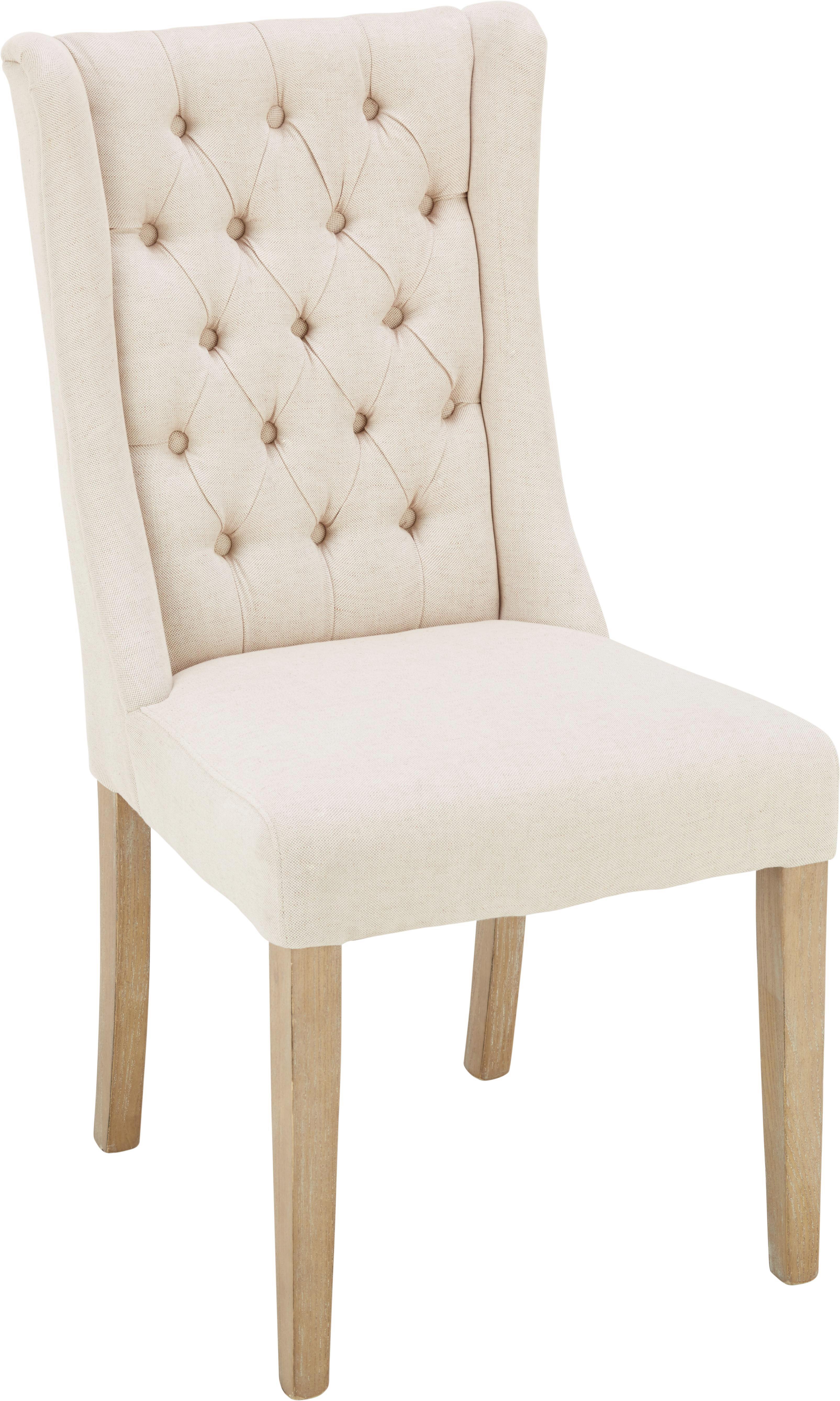 Stuhl in Creme/eschefarben - Eschefarben/Creme, ROMANTIK / LANDHAUS, Holz/Textil (51/104/63cm) - ZANDIARA