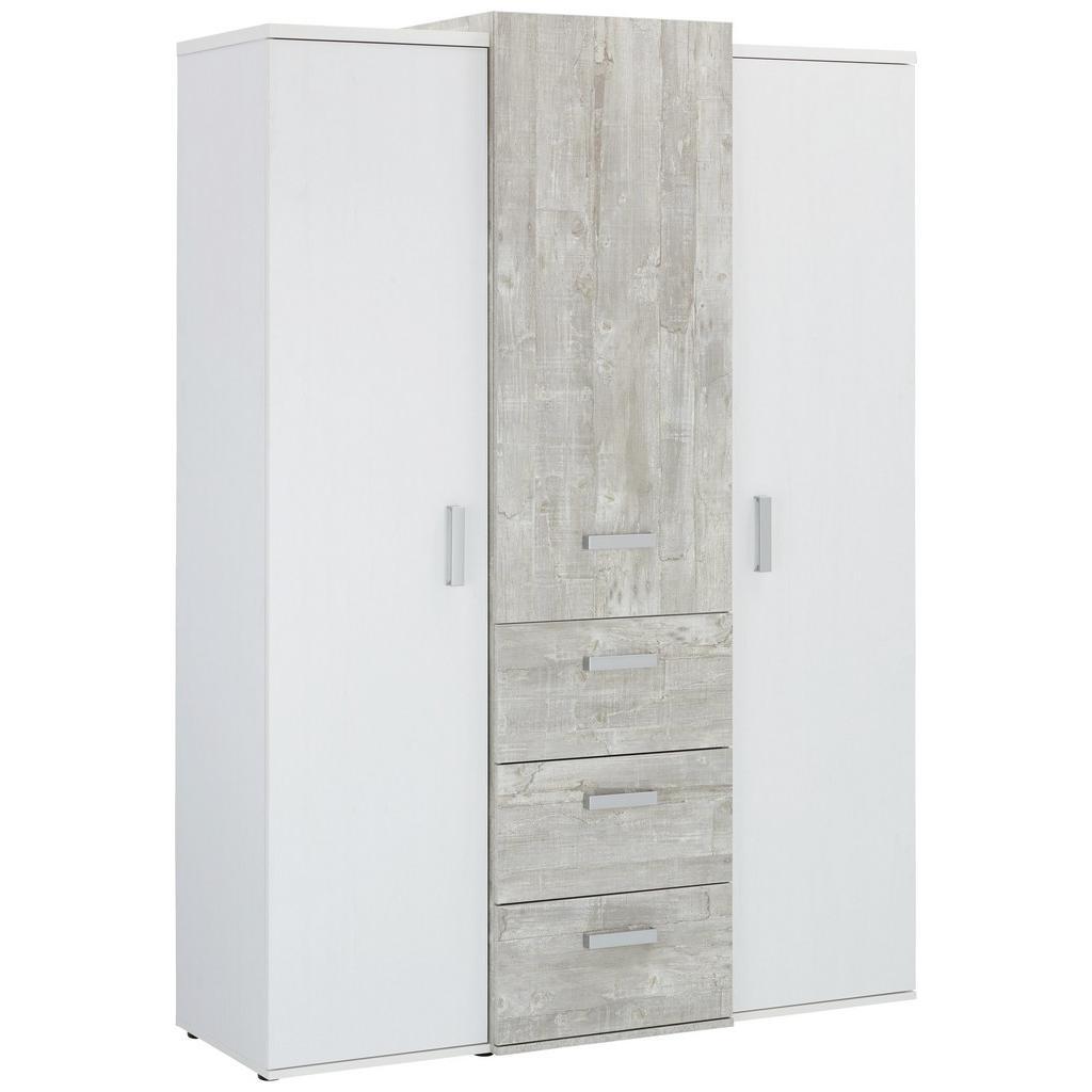 Kleiderschrank Weiß/Grau