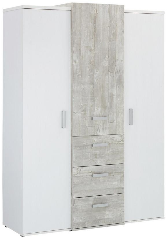 Kleiderschrank Weiß/Grau - Eichefarben/Silberfarben, KONVENTIONELL, Holzwerkstoff/Kunststoff (137/192/51cm) - Premium Living