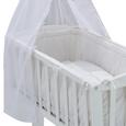 Wiegenset in Weiß, ca. 40x90cm - Hellgrau/Weiß, Holz/Textil (53/150/94cm) - Modern Living