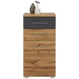 Kommode in Eichefarben - Chromfarben/Eichefarben, MODERN, Holzwerkstoff/Metall (47/95/40cm) - Mömax modern living