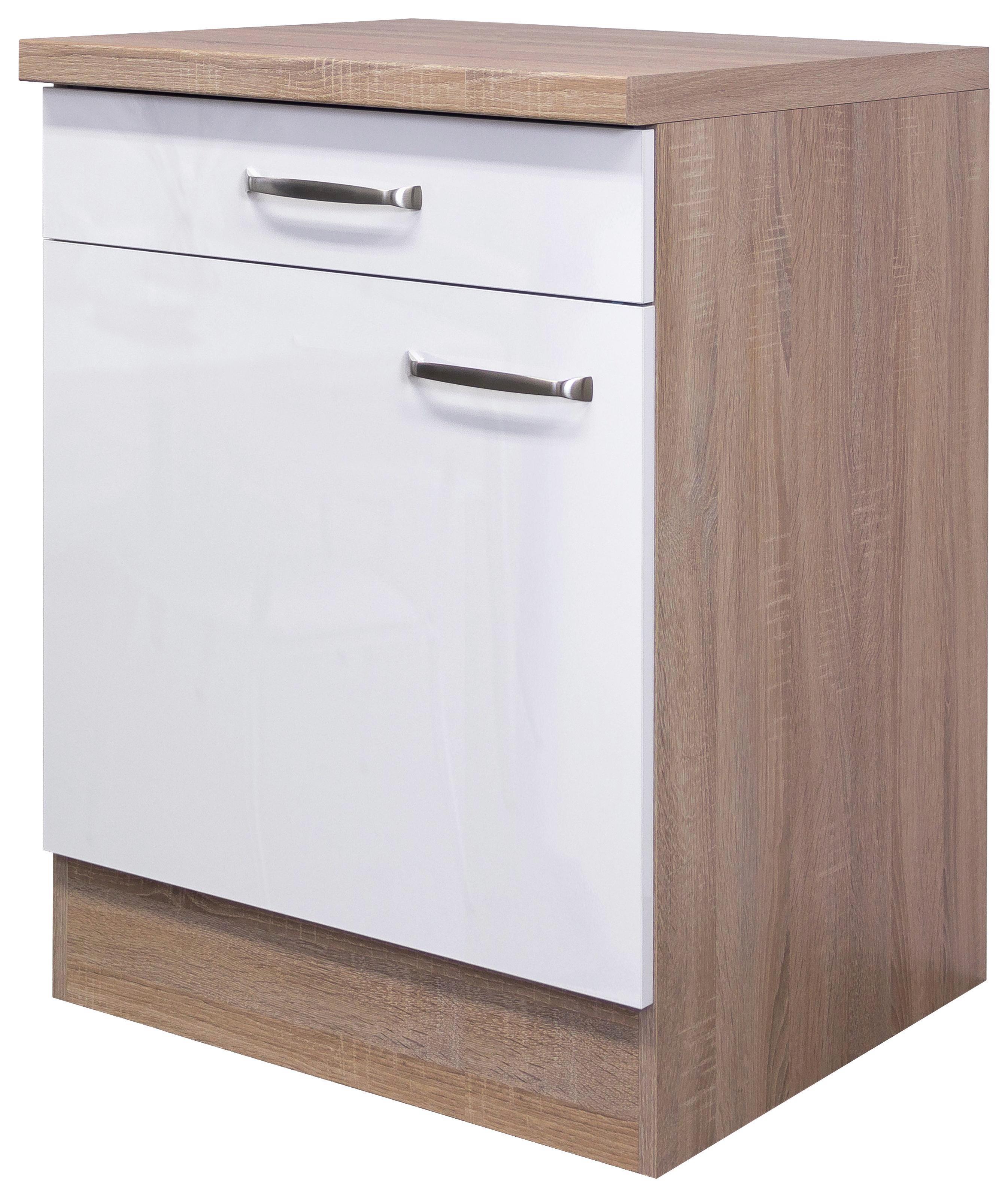 Küchenunterschrank in Weiß/Eiche - Edelstahlfarben/Eichefarben, MODERN, Holzwerkstoff/Metall (60/86/60cm)