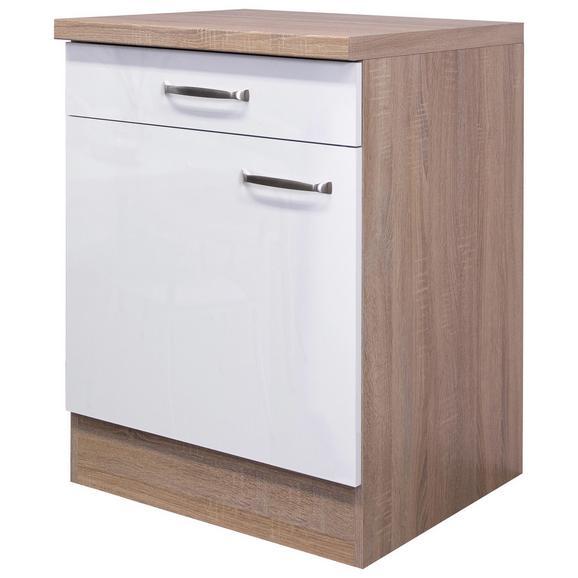 Küchenunterschrank Weiß Hochglanz/Eiche - Edelstahlfarben/Eichefarben, MODERN, Holzwerkstoff/Metall (60/86/60cm) - FlexWell.ai