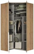 Eckkleiderschrank Weiß/Eichefarben - Eichefarben/Alufarben, ROMANTIK / LANDHAUS, Holzwerkstoff/Metall (120/236/120cm) - Premium Living