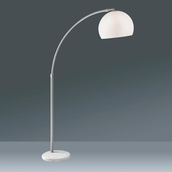 Stehleuchte Scarlett, max. 60 Watt - Silberfarben/Weiß, Design, Kunststoff/Stein (180/200cm) - MÖMAX modern living