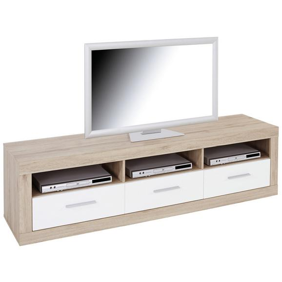 Element Tv Malta - alb/culoare lemn stejar, Modern, lemn (185/50/42cm)