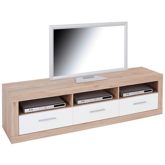 Element Tv Malta - alb/culoare lemn stejar, Modern, plastic/lemn (185/50/42cm)
