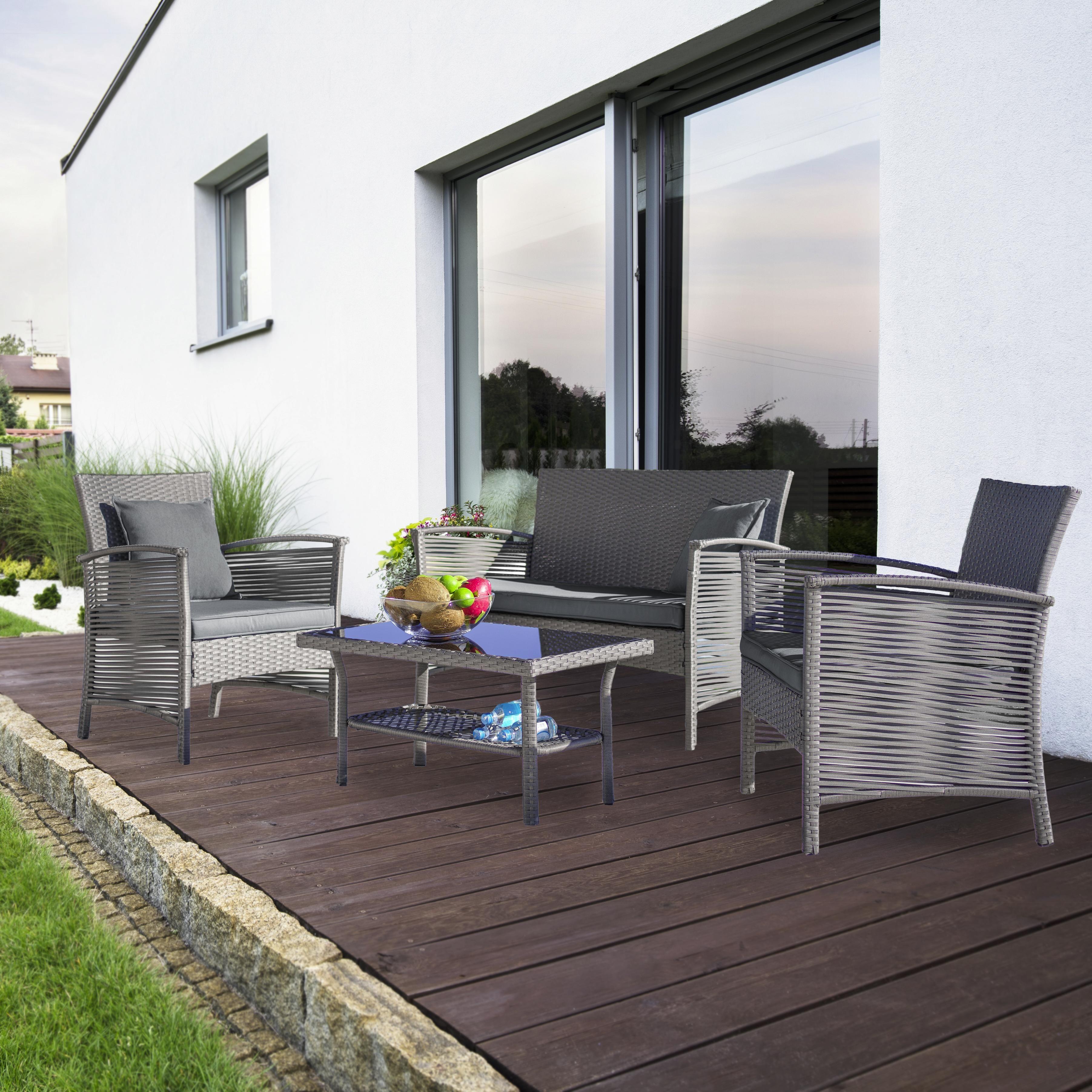 Loungegarnitur Julie 7-teilig - Grau, MODERN, Kunststoff/Textil - Modern Living