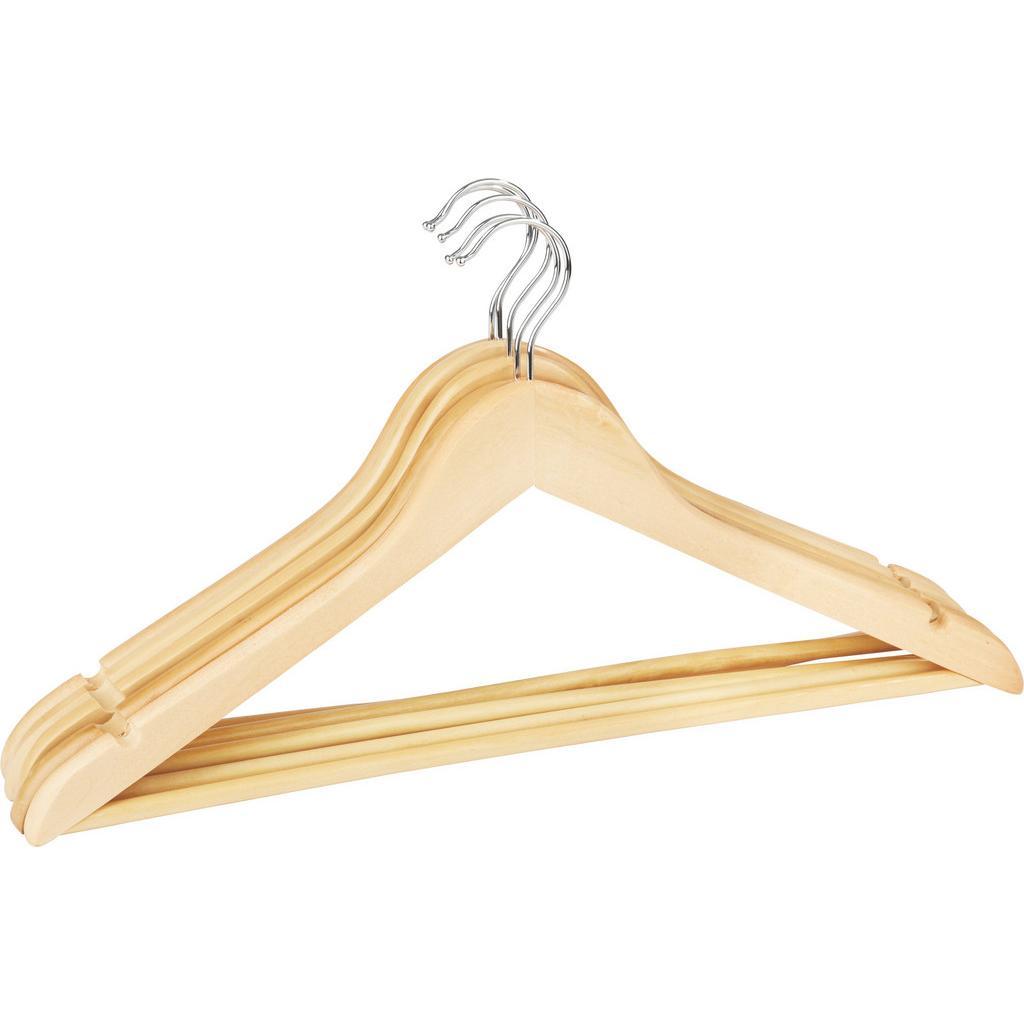 Kleiderbügelset Naturfarben aus Holz/Metall