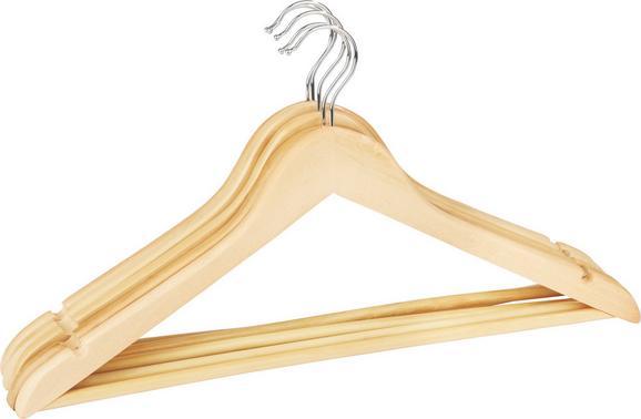 Kleiderbügelset Naturfarben aus Holz/metall - Naturfarben, ROMANTIK / LANDHAUS, Holz/Metall (44,5/23cm) - Based