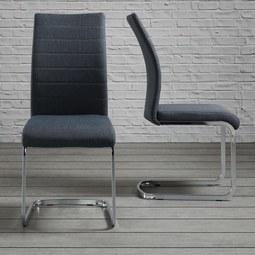 Stuhl Lennard - Dunkelgrau, MODERN, Textil/Metall (45/99/45cm) - Modern Living