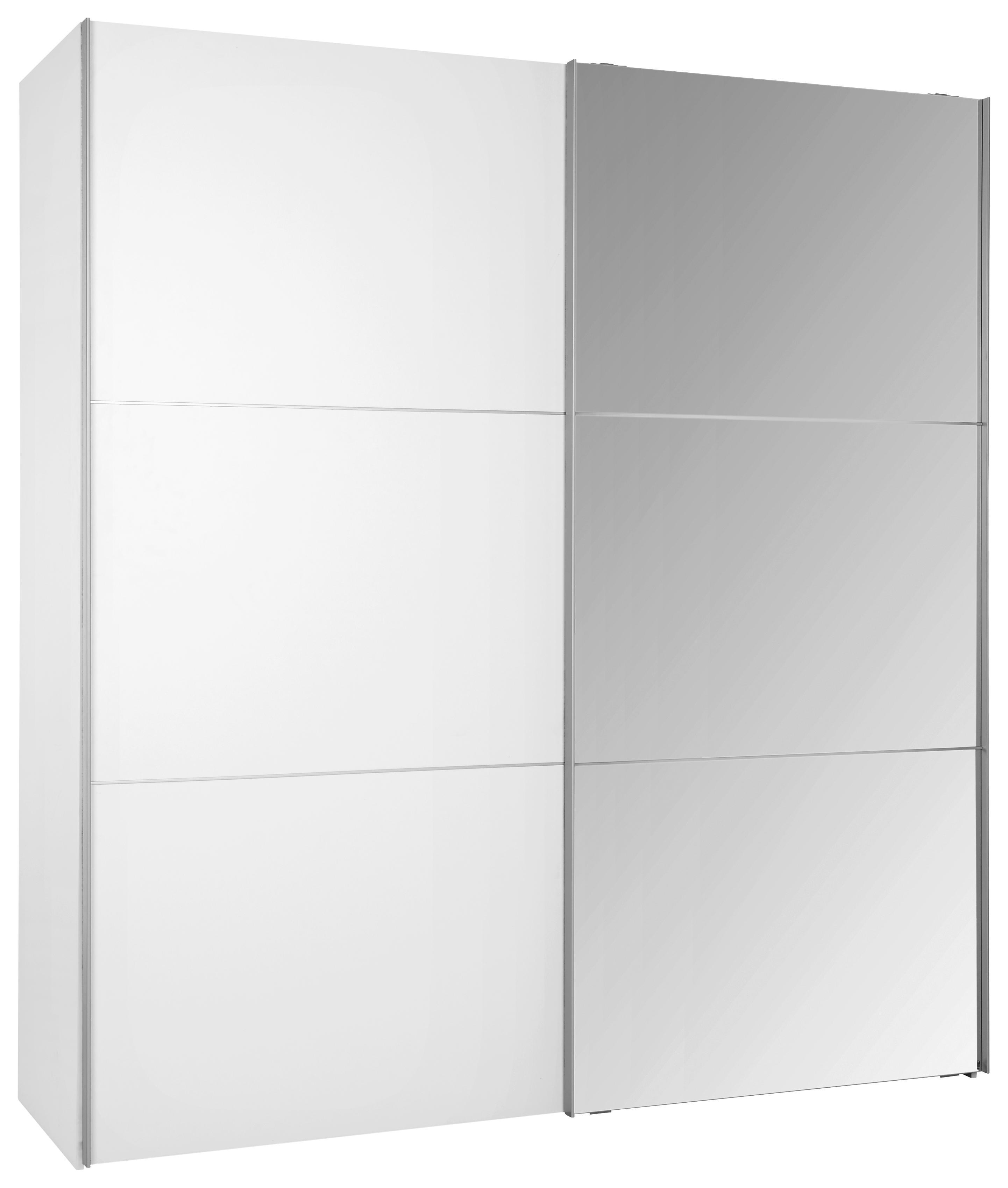 Schwebeturenschrank Weiss Spiegel 3 Breiten Kleiderschrank Hohe 216 Cm