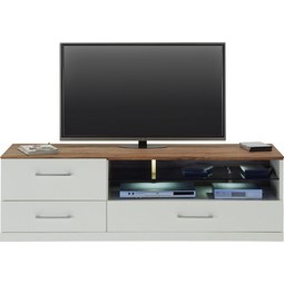 TV-Element in Weiß Hochglanz - Weiß/Akaziefarben, MODERN, Holz (160/49/50cm) - Premium Living