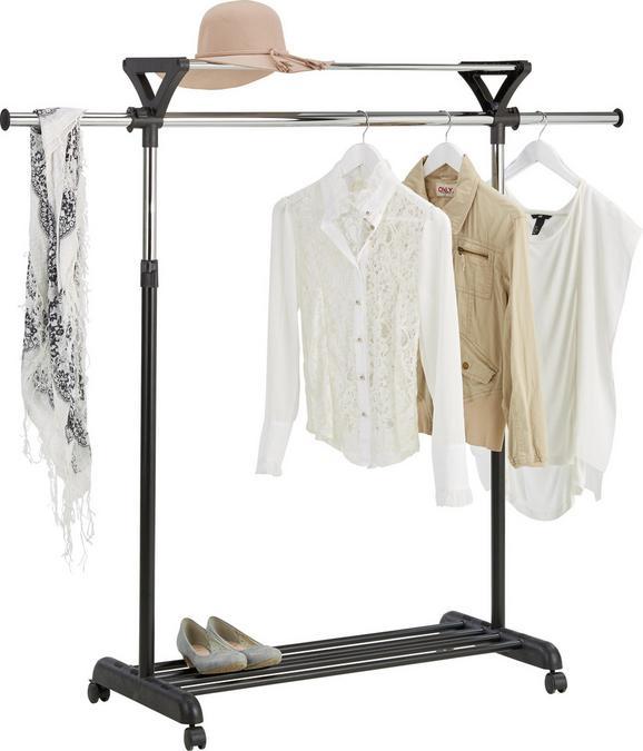 Mobilno Stojalo Za Obleke Rafael - črna/krom, Moderno, kovina/umetna masa (94-134/110-180/43cm) - Mömax modern living