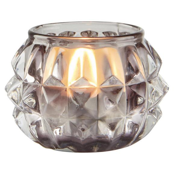 Teelichthalter in Grau Ø/H ca. 7,4/4,8 cm 'Ayleen' - Grau, MODERN, Glas (7,4/4,8cm) - Bessagi Home