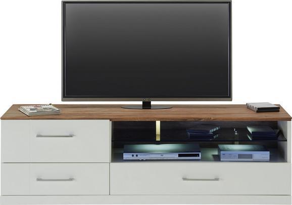 TV-Element in Weiß Hochglanz - Weiß/Akaziefarben, Design, Holz (160/49/50cm) - Premium Living