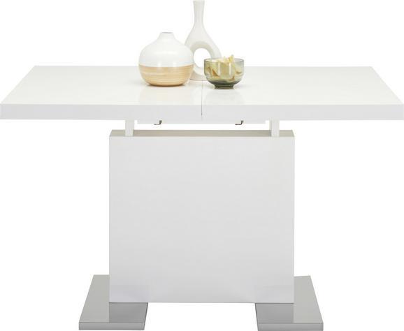 Jedilna Miza Campino - bela/krom, Moderno, kovina/leseni material (120-160/76/80cm)