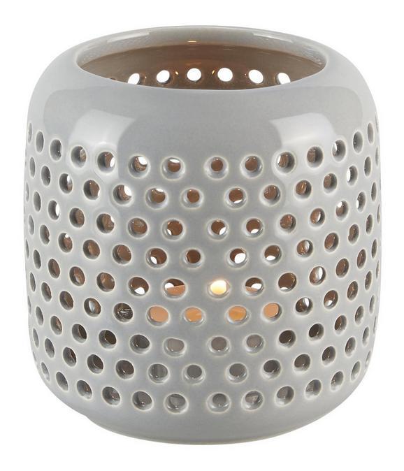 Windlicht Amelie in Grau aus Keramik - Grau, LIFESTYLE, Keramik (9,5cm)