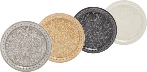 Dekoteller Kira aus Metall in runder Form - Goldfarben/Creme, ROMANTIK / LANDHAUS, Metall (35cm) - MÖMAX modern living