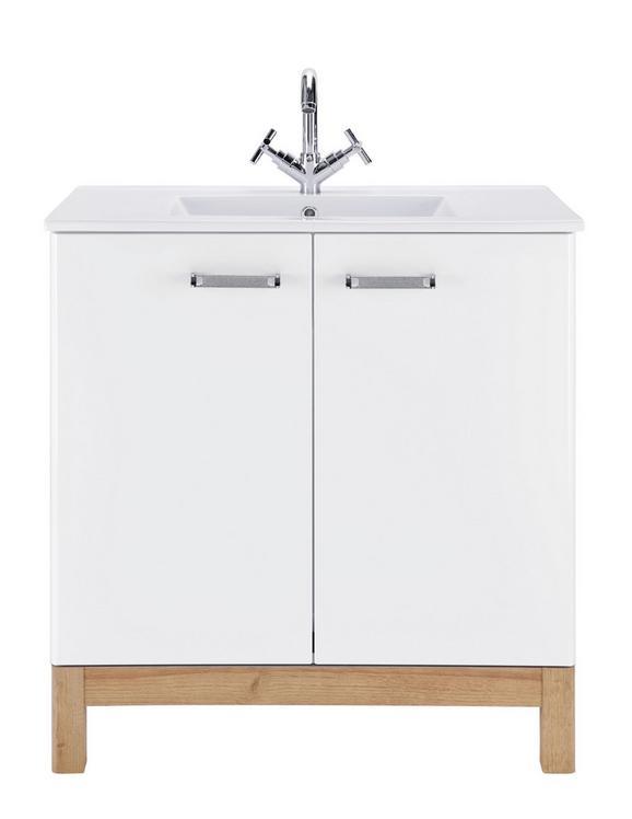 Waschtischkombi Weiß/Eichefarben - Chromfarben/Eichefarben, MODERN, Keramik/Holzwerkstoff (80/84/46cm)