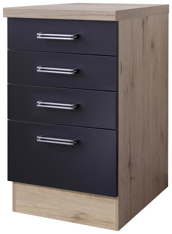 Spodnja Omarica S Predali Milano - hrast/antracit, Moderno, kovina/leseni material (50/86/60cm)