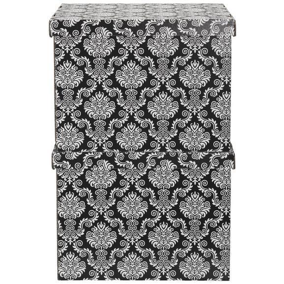 Box mit Deckel Jimmy Schwarz/Weiß - Schwarz, Karton (44,3/33,5/32,5cm) - Mömax modern living