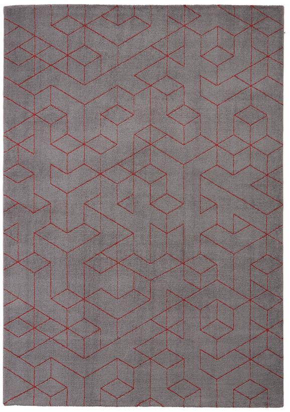 Webteppich Berlin Rot/Dunkelgrau 80x150cm - Dunkelgrau/Rot, Textil (80/150cm) - Mömax modern living