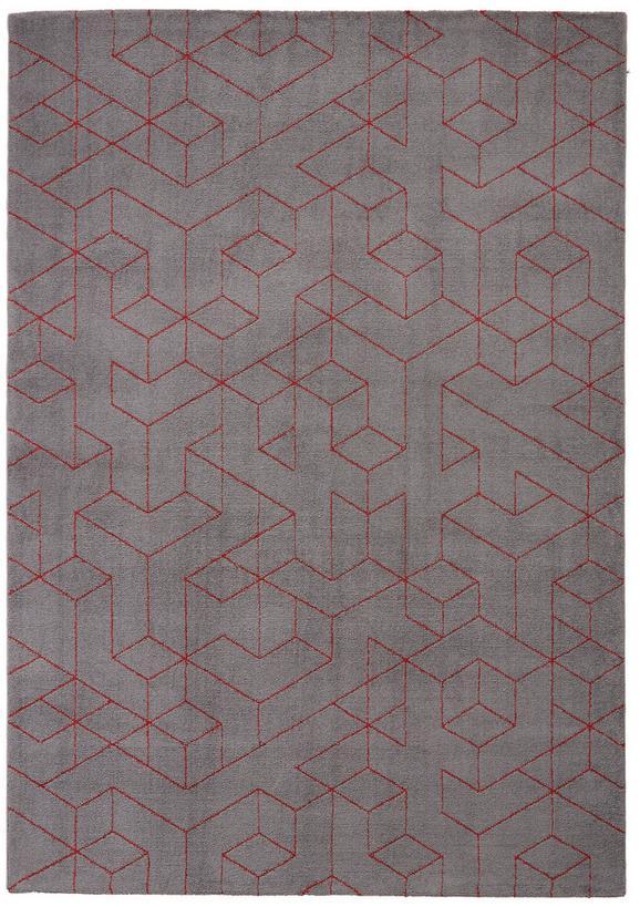 Webteppich Berlin Rot/grau 160x230cm - Dunkelgrau/Rot, Textil (160/230cm) - Mömax modern living
