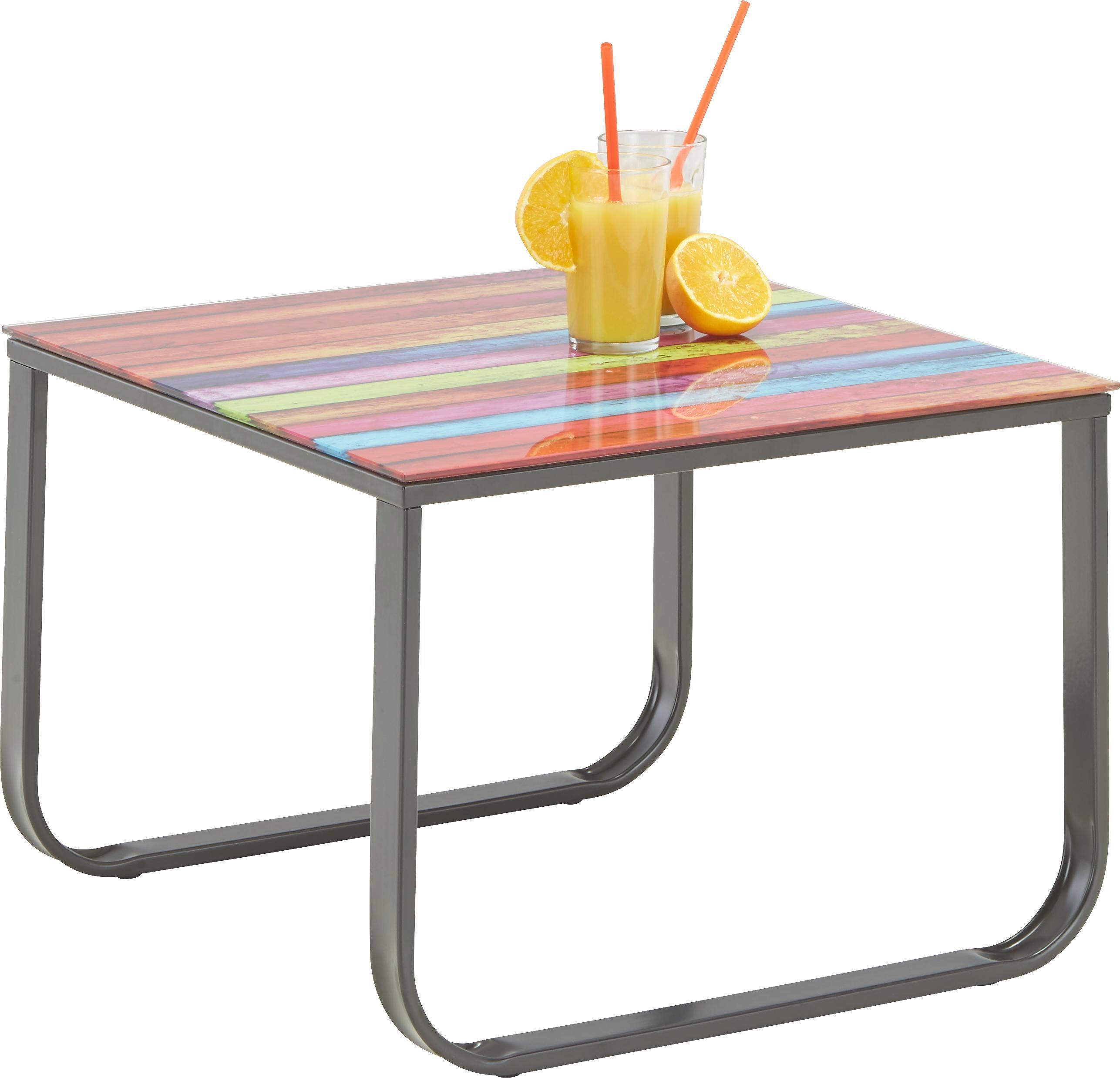 Beistelltisch in Bunt aus Glas/metall - Multicolor/Schwarz, MODERN, Glas/Metall (55/38/55cm) - MÖMAX modern living