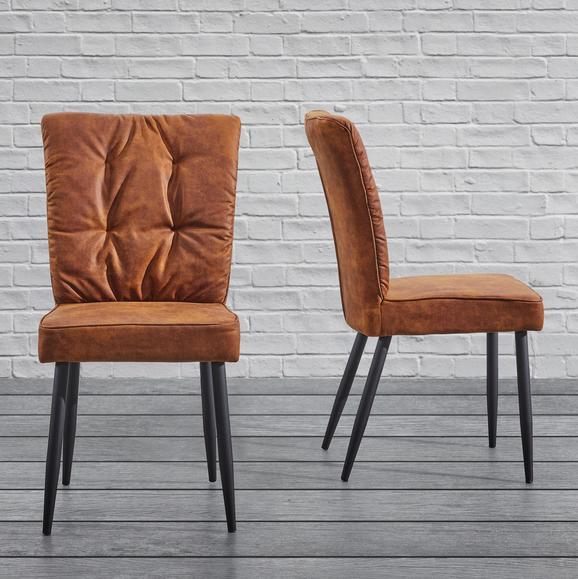 Stuhl Zoey - Rostfarben, MODERN, Textil/Metall (51/93,5/61cm) - Modern Living