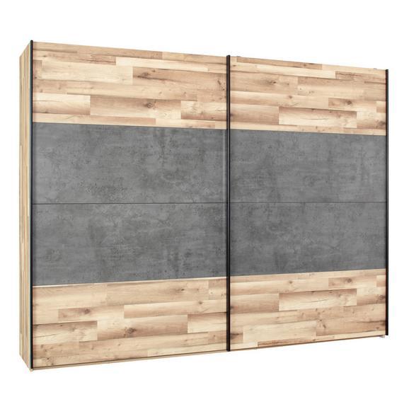 Schwebetürenschrank in Eichefarben - Eichefarben/Dunkelgrau, KONVENTIONELL, Holzwerkstoff/Kunststoff (220,1/210,5/61,2cm) - Modern Living