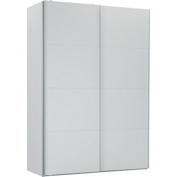 Schwebetürenschrank in Weiß - Alufarben/Weiß, KONVENTIONELL, Holzwerkstoff (150/216/68cm) - Premium Living