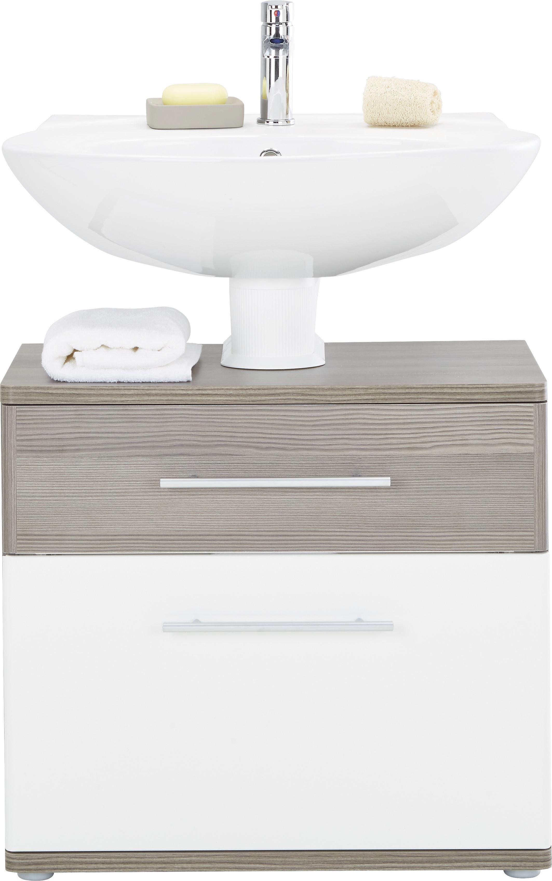 Waschbeckenunterschrank in Braun/Weiß - Dunkelbraun/Alufarben, KONVENTIONELL, Holzwerkstoff/Kunststoff (66/59/40cm) - PREMIUM LIVING
