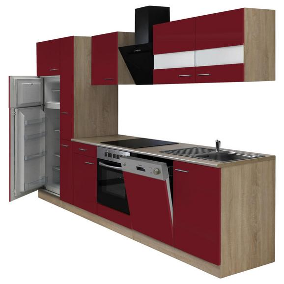 Küchenblock ECONOMY 310 - Eichefarben/Rot, KONVENTIONELL, Holzwerkstoff (310/200/60cm) - Livetastic