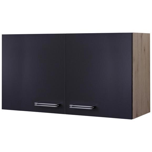 Küchenoberschrank Anthrazit/Eiche - Edelstahlfarben/Eichefarben, MODERN, Holzwerkstoff/Metall (100/54/32cm) - FlexWell.ai