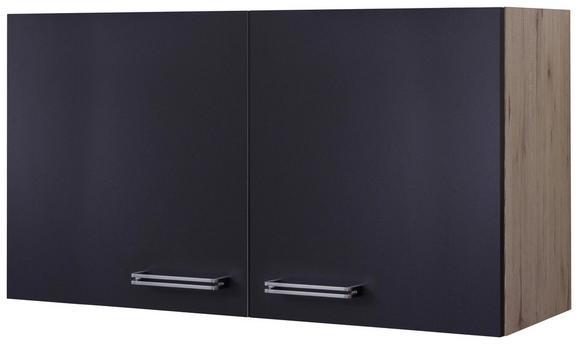 Küchenoberschrank Anthrazit/Eiche - Edelstahlfarben/Eichefarben, MODERN, Holzwerkstoff/Metall (100/54/32cm)