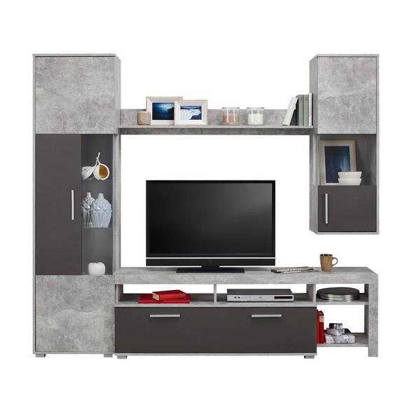 Wohnwand in grau matt online kaufen m max for Wohnwand schwarz matt