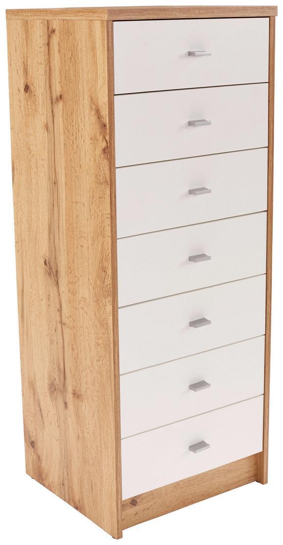 Komoda 4-YOU NEW YUK11 - bela/hrast, Moderno, umetna masa/leseni material (50/111,4/34,6cm)