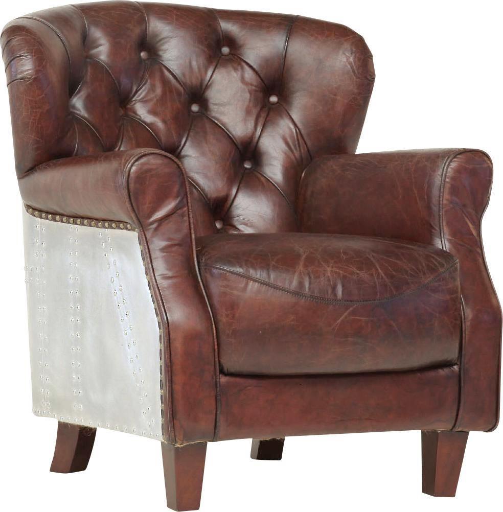 Fotel Avantgarde - barna, Lifestyle, bőr/fém (76/89/85cm)