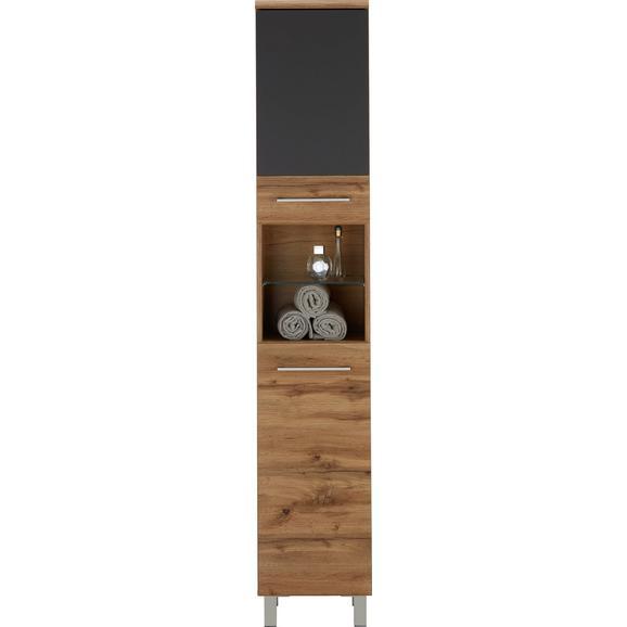 Hochschrank Eichefarben/Anthrazit - Chromfarben/Eichefarben, MODERN, Holzwerkstoff/Metall (35/194/33cm) - Premium Living