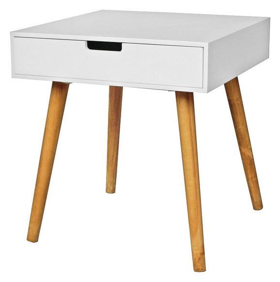 Kisasztal Alina - Tölgyfa/Fehér, modern, Faalapú anyag (45/49/45cm)