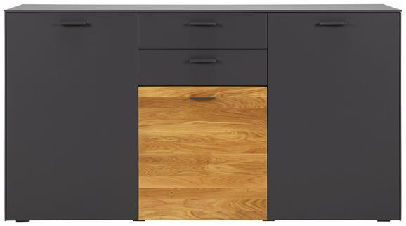 Sideboard Anthrazit/Eiche - Chromfarben/Eichefarben, MODERN, Holz/Holzwerkstoff (177/98/42cm) - PREMIUM LIVING