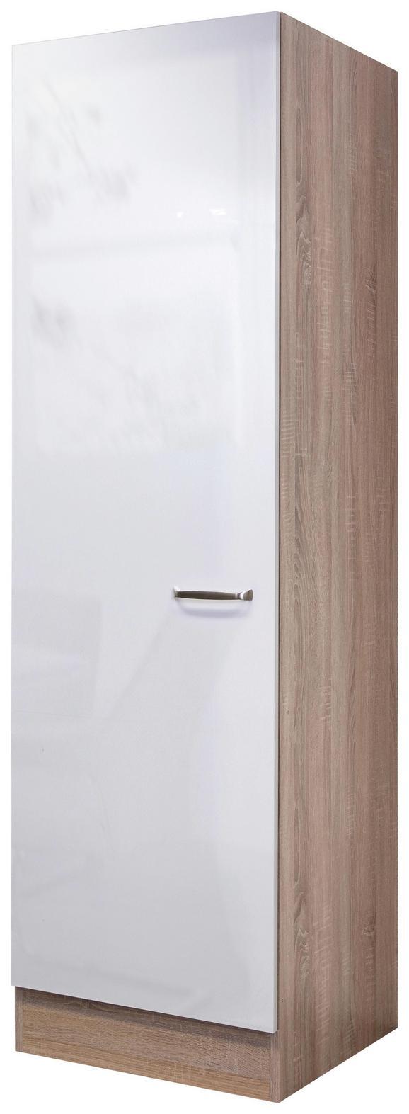 Geschirrschrank Weiß Hochglanz/Eiche - Edelstahlfarben/Eichefarben, MODERN, Holzwerkstoff/Metall (50/200/57cm)