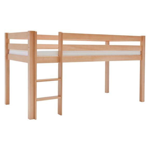 MITTELHOHES BETT ALEX - Buchefarben, Design, Holz (90/200cm)
