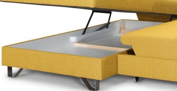 Wohnlandschaft mit Bettfunktion - Gelb, MODERN, Textil/Metall (196/280cm)